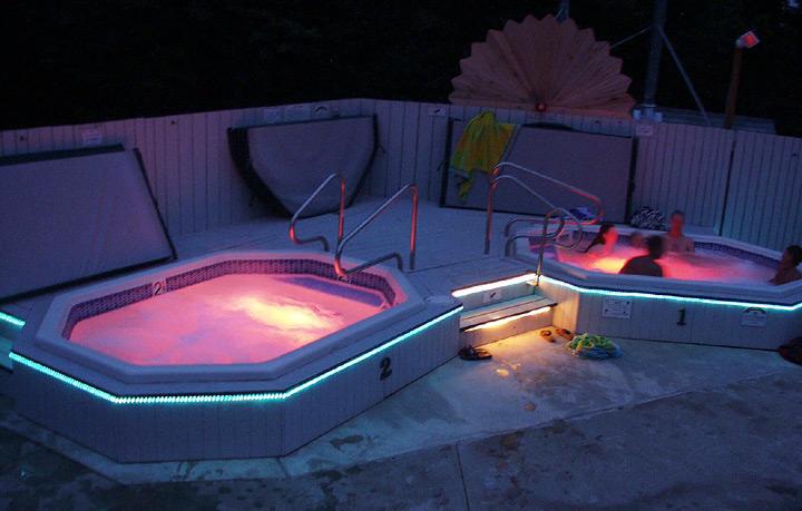 Enjoying the hot tubs at night