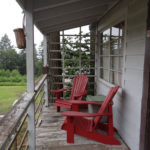 The front porch overlooking the park